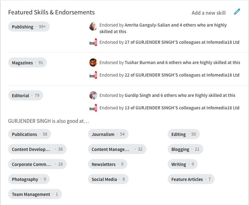 LinkedIn Endorsement as on 29 Sep 2017